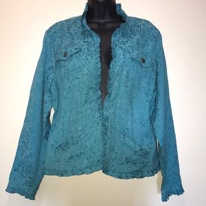 COLDWATER CREEK Teal Brocade Ruffle Blazer~L~